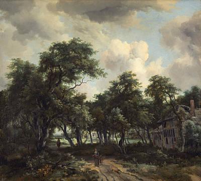Meindert Hobbema Painting - Hut Among Trees by Meindert Hobbema