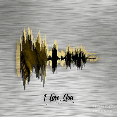 Sound Mixed Media - I Love You Sound Wave by Marvin Blaine