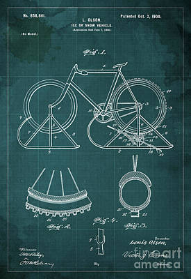 Patent Drawing - Ice Or Snow Vehicle Patent Year 1900 by Pablo Franchi