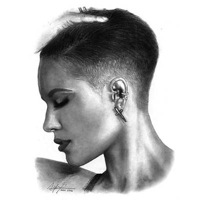 Black Art Drawing - Halsey Drawing By Sofia Furniel by Sofia Furniel