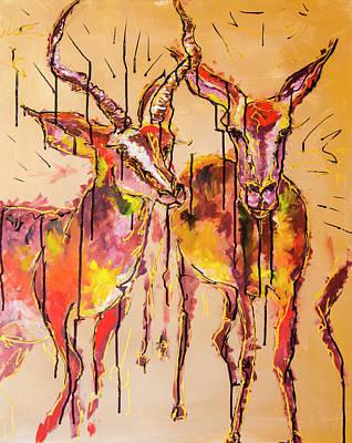 2 Impalas Art Print by Rina Bhabra