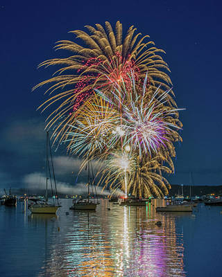Photograph - Independence Day Fireworks In Boothbay Harbor by Jesse MacDonald