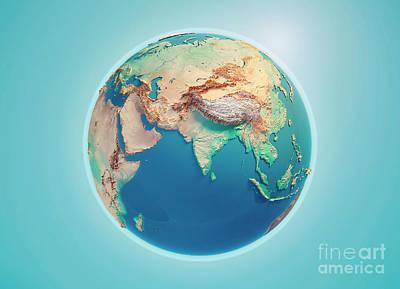Geography Digital Art - India 3d Render Planet Earth by Frank Ramspott