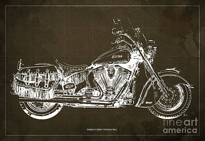 Bike Drawing - Indian Chief Vintage 2012 Blueprint by Pablo Franchi