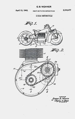 Innovation Digital Art - Indian Motorcycle Patent 1943 by Claire  Doherty