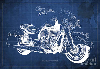 Indian Springfield 2016 Blueprint Art Vintage Background Print by Pablo Franchi