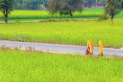 Photograph - Indian Women On A Village Road. by Nila Newsom