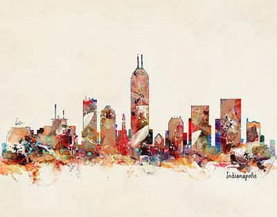 Painting - Indianapolis Indiana Skyline by Bri B