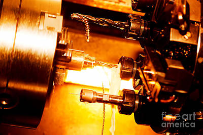 Mechanical Photograph - Industrial Cnc Drilling And Boring Machine At Work by Michal Bednarek