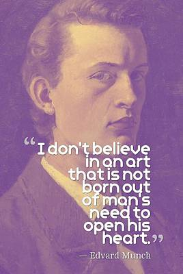 Painting - Inspirational Quotes - Edward Munch 13 by Adam Asar