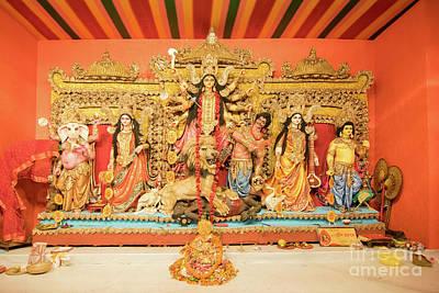 Goddess Durga Photograph - Interior Of Decorated Durga Puja Pandal, At Kolkata, West Bengal, India. by Rudra Narayan Mitra