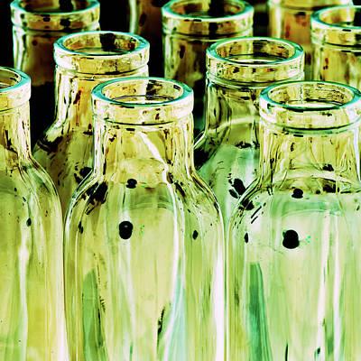 Manipulated Digital Photograph - Iridescent Bottle Parade by Heiko Koehrer-Wagner