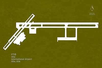 United States Digital Art - Ito Hilo International Airport In Hilo Hawaii Usa Runway Silhoue by Jurq Studio