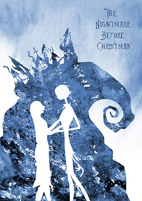 Nightmare Before Christmas Wall Art - Digital Art - Jack And Sally-blue by Erzebet S