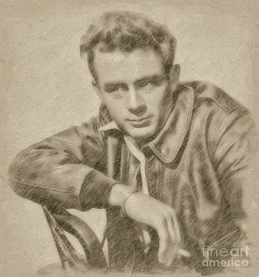 Fantasy Drawings - James Dean Hollywood Legend by Frank Falcon