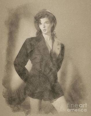 Musicians Drawings - Jane Russell, Vintage Actress by John Springfield by John Springfield
