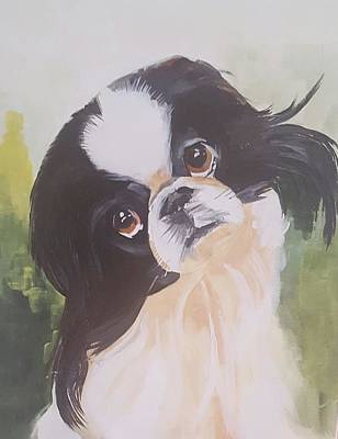 Japanese Chin Puppy Painting - Japanese Chin by Jim Burris