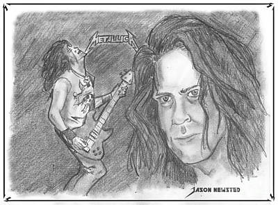 Drawing - Jason Newsted by Chris  DelVecchio