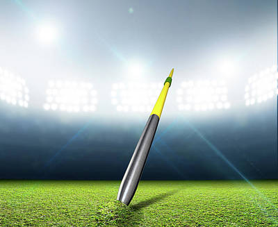 Stadium Digital Art - Javelin In Generic Floodlit Stadium by Allan Swart