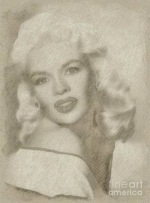 Star Trek Drawing - Jayne Mansfield Hollywood Actress And Pinup by Frank Falcon