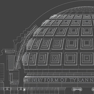 Jefferson Memorial Drawing - Jefferson Memorial - Dome Section - Washington, Dc - Circa 1938  by Wall Artifact
