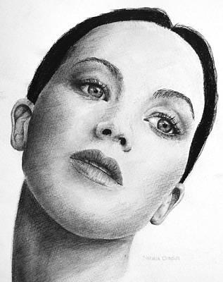 Ball Point Pen Painting - Jennifer Lawrence by Natalia Chaplin