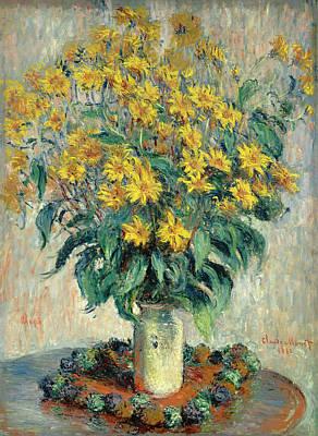 Jerusalem Artichoke Flowers Art Print by Claude Monet