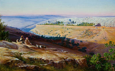 Painting - Jerusalem From The Mount Of Olives by Edward Lear