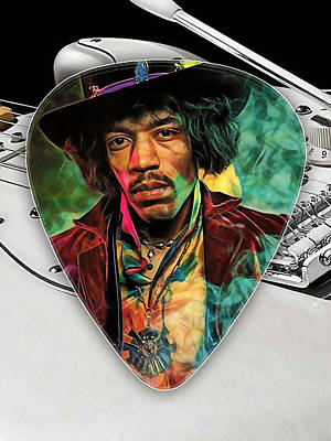 Music Mixed Media - Jimi Hendrix Guitar Pick Collection by Marvin Blaine