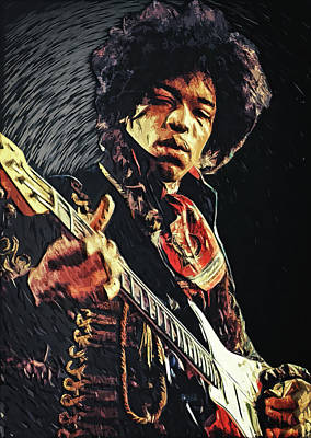 Cafe Digital Art - Jimi Hendrix by Taylan Apukovska