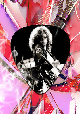 Guitar Mixed Media - Jimmy Page Led Zeppelin Art by Marvin Blaine