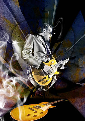 Mixed Media - Joe Bonamassa Blue Guitarist Art by Marvin Blaine