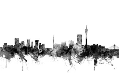 Silhouette Digital Art - Johannesburg South Africa Skyline by Michael Tompsett