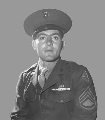 Soldiers Digital Art - John Basilone by War Is Hell Store