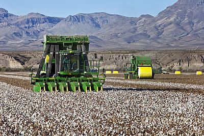 Cotton Picking Photograph - John Deere Cotton Pickers Harvesting by Inga Spence