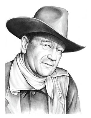 University Drawing - John Wayne by Greg Joens
