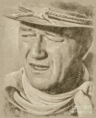 Fantasy Drawings - John Wayne Hollywood Actor by Frank Falcon