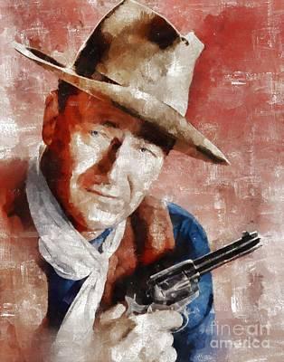 John Wayne Painting - John Wayne Hollywood Actor by Mary Bassett