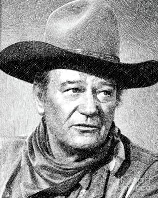 Musicians Drawings Rights Managed Images - John Wayne, Vintage Actor by JS Royalty-Free Image by John Springfield