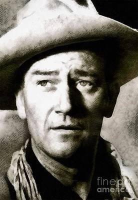 John Wayne Painting - John Wayne, Vintage Hollywood Legend by John Springfield