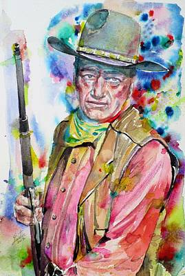 Painting - John Wayne - Watercolor Portrait by Fabrizio Cassetta