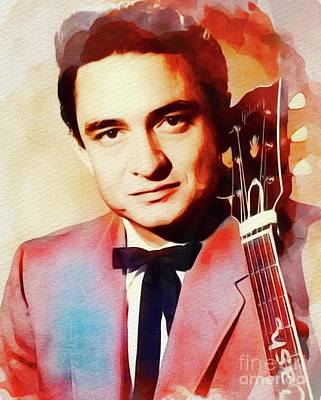 Music Paintings - Johnny Cash, Music Legend by Esoterica Art Agency