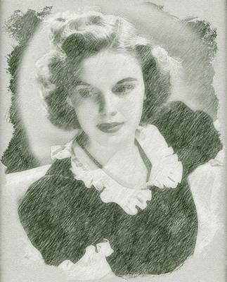 Musicians Drawings Rights Managed Images - Judy Garland by John Springfield Royalty-Free Image by John Springfield