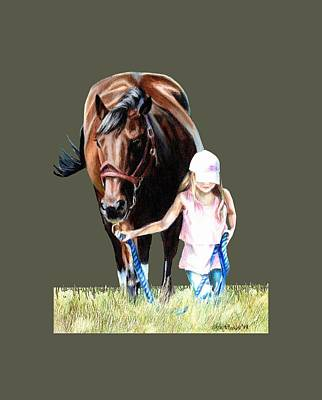 Baseball Fields Drawing - Just A Girl And Her Horse  by Shana Rowe Jackson