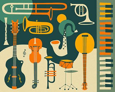 Retro Digital Art - Just Jazz by Jazzberry Blue