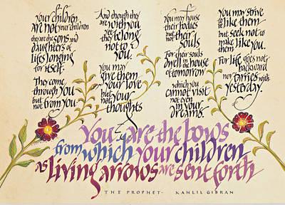 Kahlil Gibran Drawing - Kahlil Gibran - Children by Dave Wood