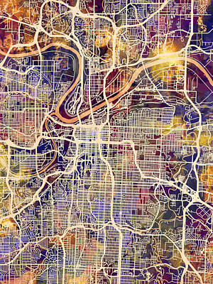 Digital Art - Kansas City Missouri City Map by Michael Tompsett