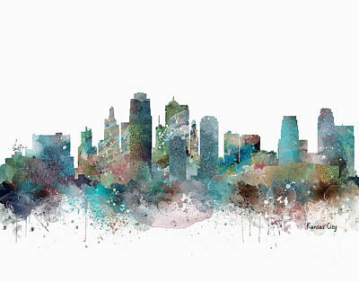 Painting - Kansas City Missouri Skyline  by Bleu Bri