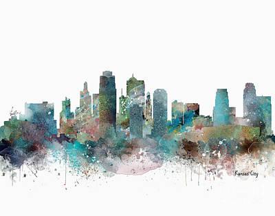 Skylines Painting - Kansas City Missouri Skyline  by Bri B