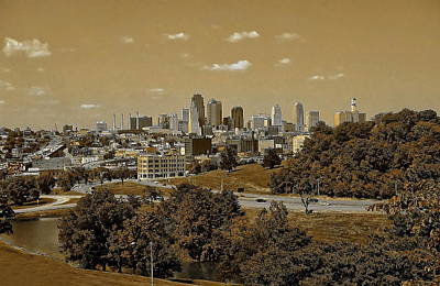 Park Scene Digital Art - Kansas City Skyline by Anthony Dezenzio